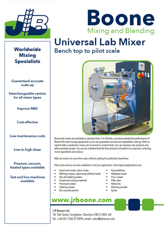 J R Boone Lab Mixer Specification Sheet